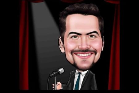 cartoon image of Frank Clifford with a microphone