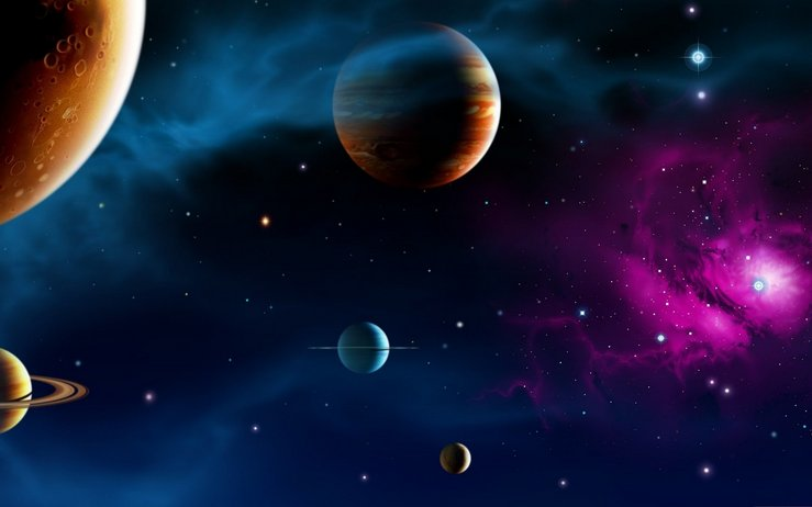 outer space with planets, stars and blue and magenta light