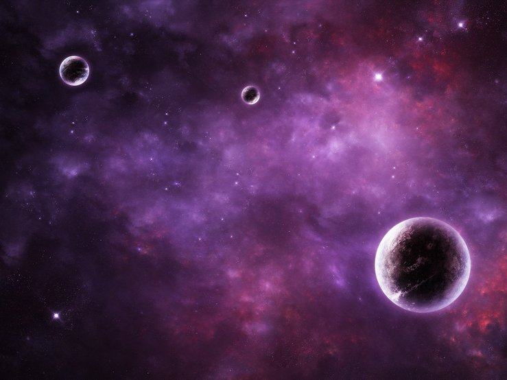 Outer space with planets and purple glow