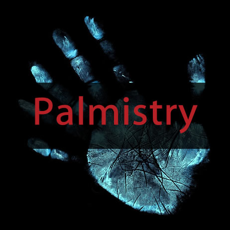 Black background with blue handprint and red Palmistry text