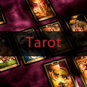 Tarot cards with purple background and red Tarot text